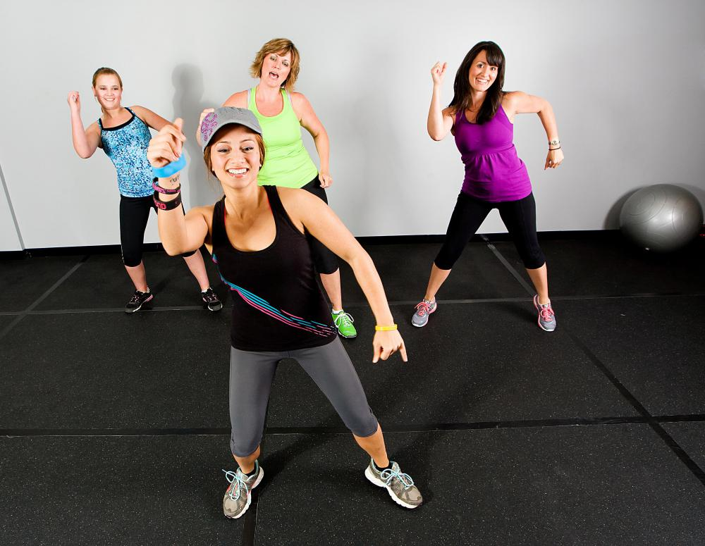 Zumba uses dance moves to provide an aerobic workout.