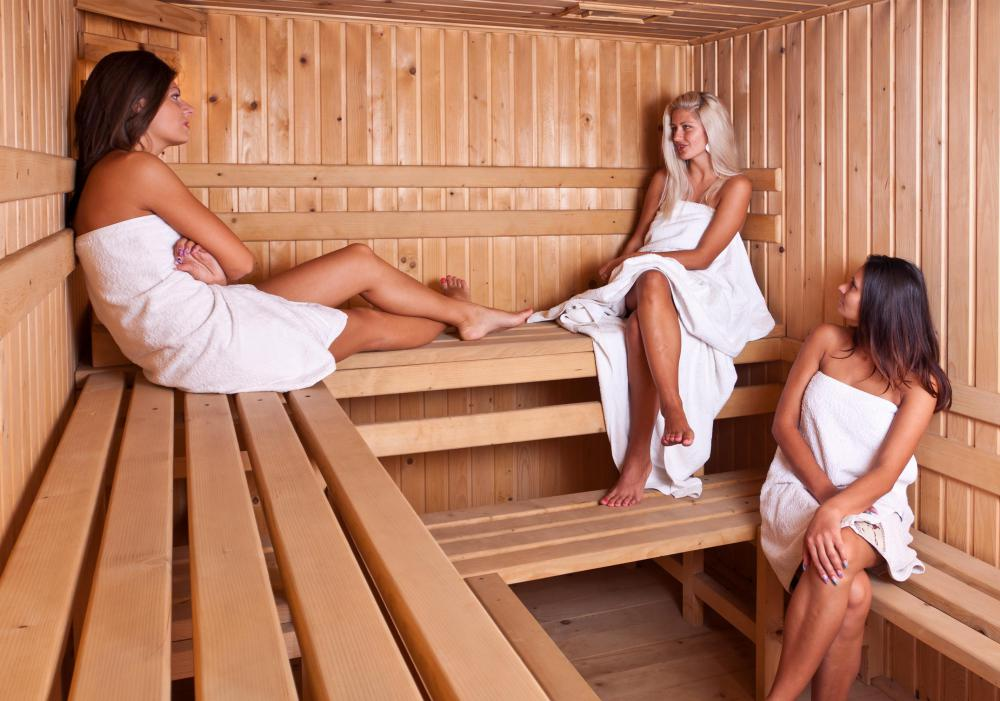 Women in a sauna at a spa.