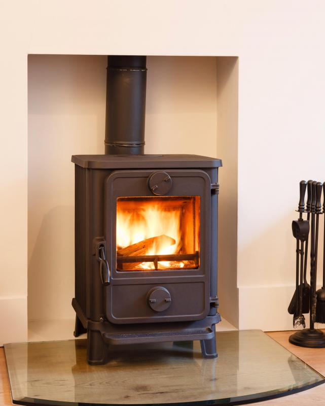 Wood stoves use chimney pipes to vent smoke.