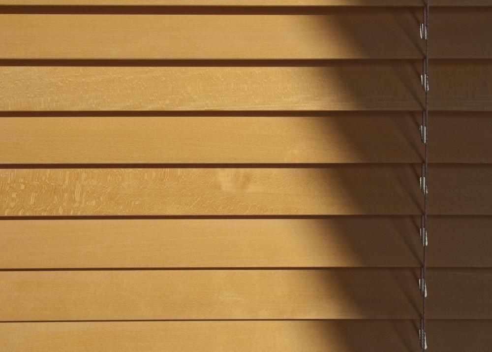 Wooden blinds.