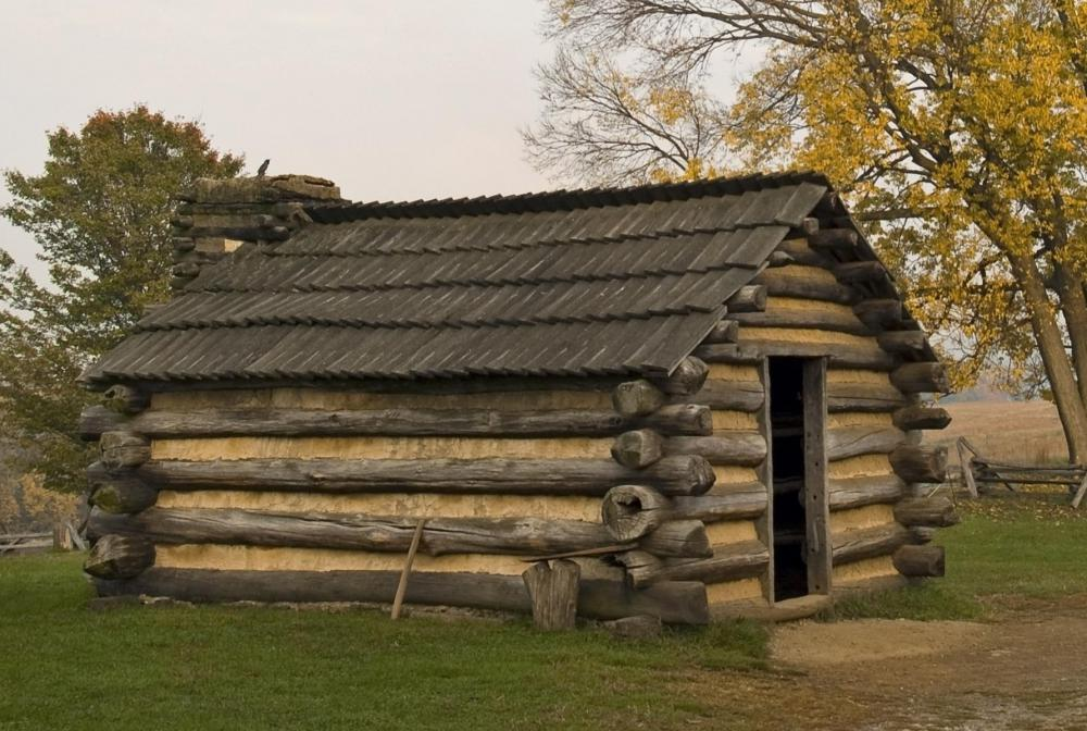Pilgrims typically lived in primitive homes like log cabins that they made themselves.