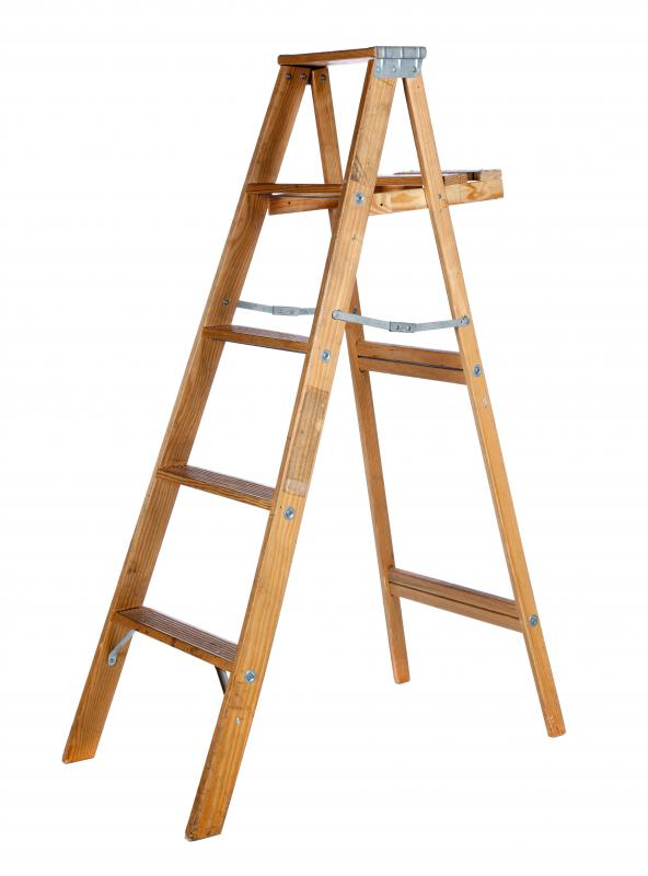Wooden ladder.