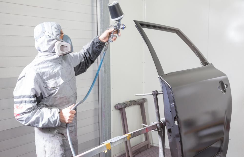 HVLP spray guns are used to paint automobile bodies.