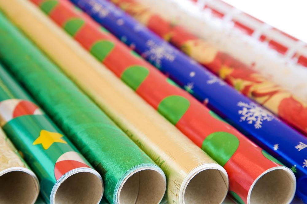 Recycled wrapping paper is available in various colors, lengths, themes and styles.