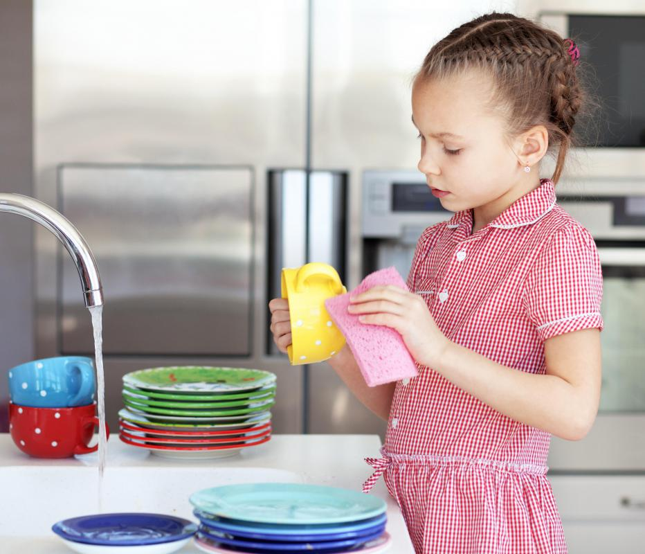 Children are often responsible for chores, which may include clearing the dinner table and cleaning dishes.