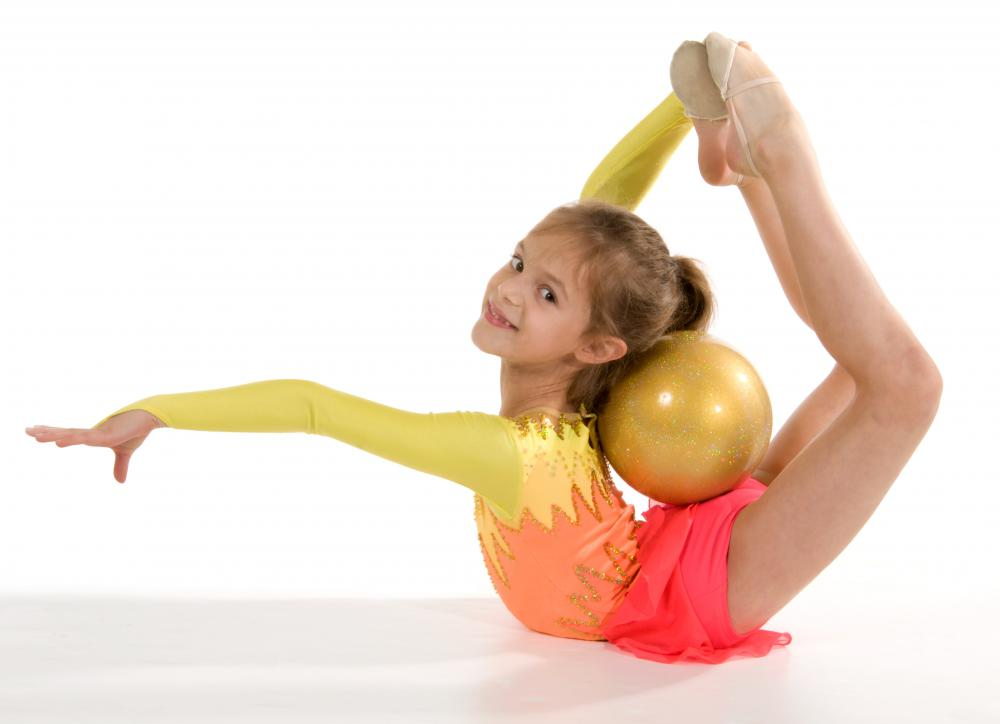 Young, flexible rhythmic gymnast.