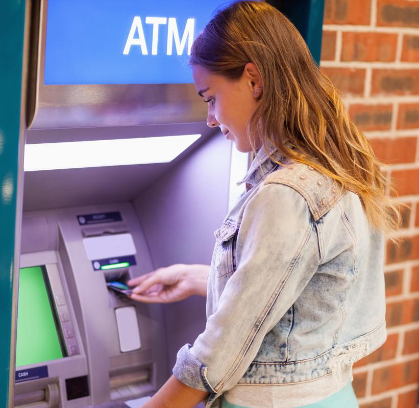 Some modern ATM machines also feature headphone jacks, allowing blind patrons to listen to onscreen instructions.