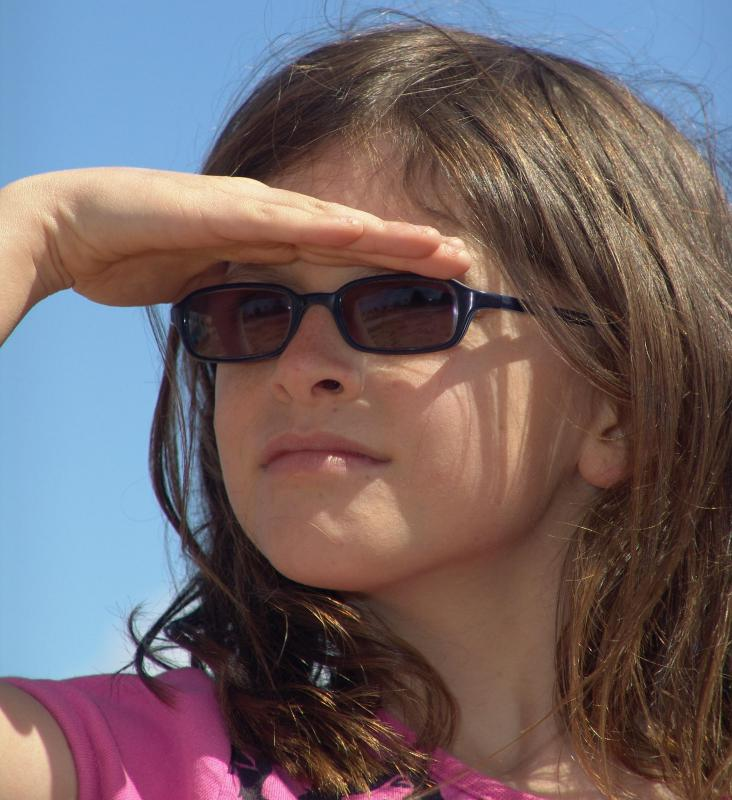 Sunglasses help protect a person's eyes from harmful UV rays.