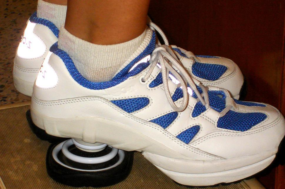 b8d7871b43 Springs added to shoes act as shock absorbers.